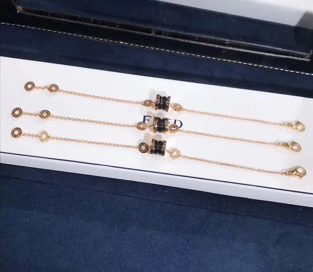 Bvlgari B.ZERO1 Soft Bracelet 18K Rose Gold with Black Ceramic