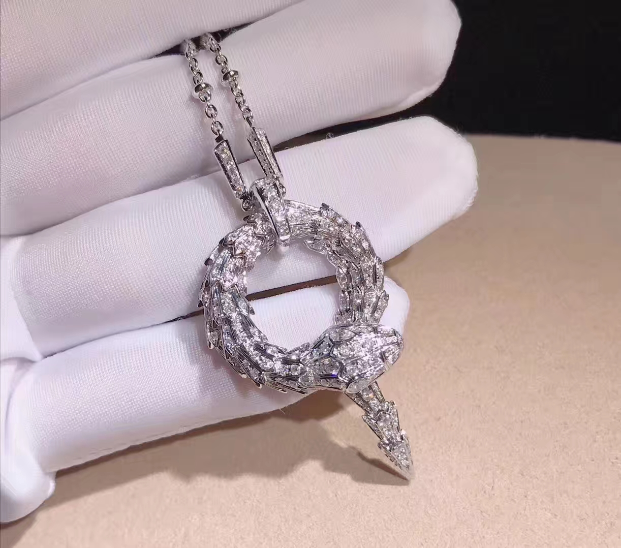 18k White Gold Bulgari Serpenti Diamond Snake Pendant Necklace
