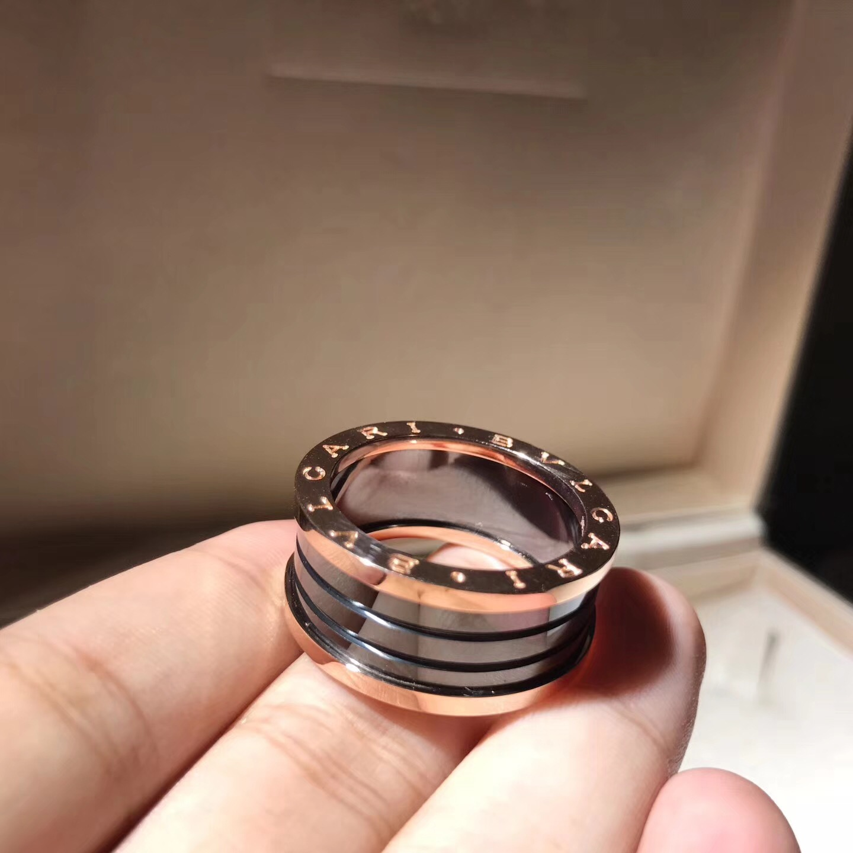 Bvlgari B.Zero1 4-Band Black Ceramic 18k Rose Gold Ring Ref.AN855563