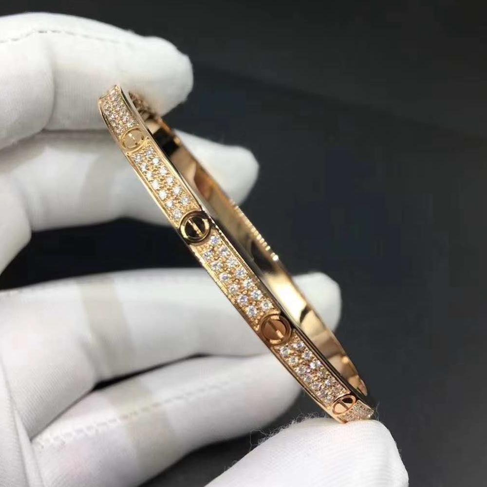 18k Pink Gold Cartier Love Bracelet Pave Diamonds Small Model N6710717