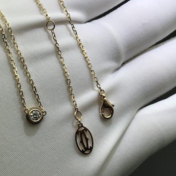 Large Model 0.18ct Cartier Diamants Légers Necklace Pink Gold