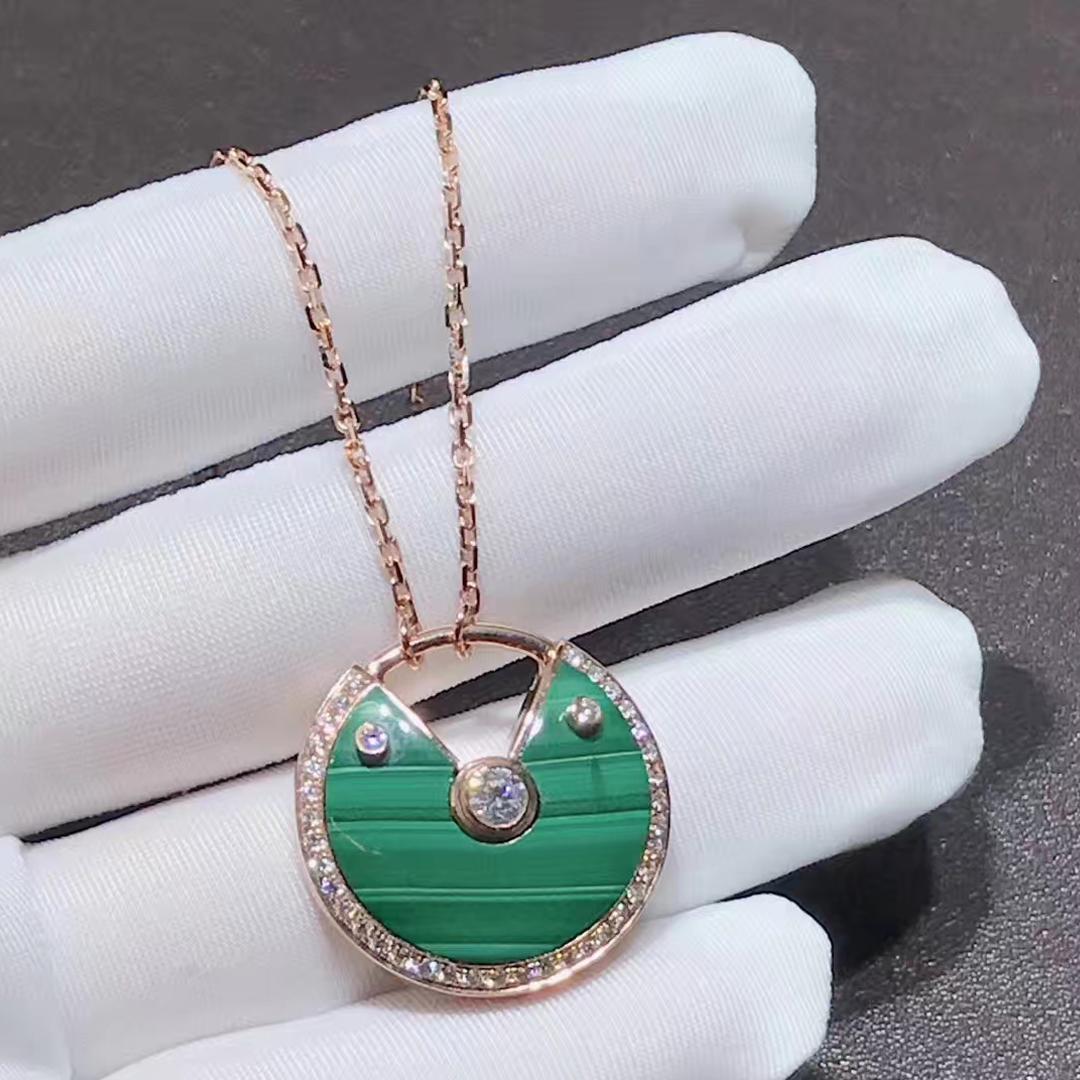 Inspired Amulette de Cartier necklace 18K pink gold malachite, medium model