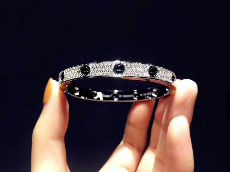 Inspired Cartier Love bracelet 18K white gold black ceramic paved diamonds
