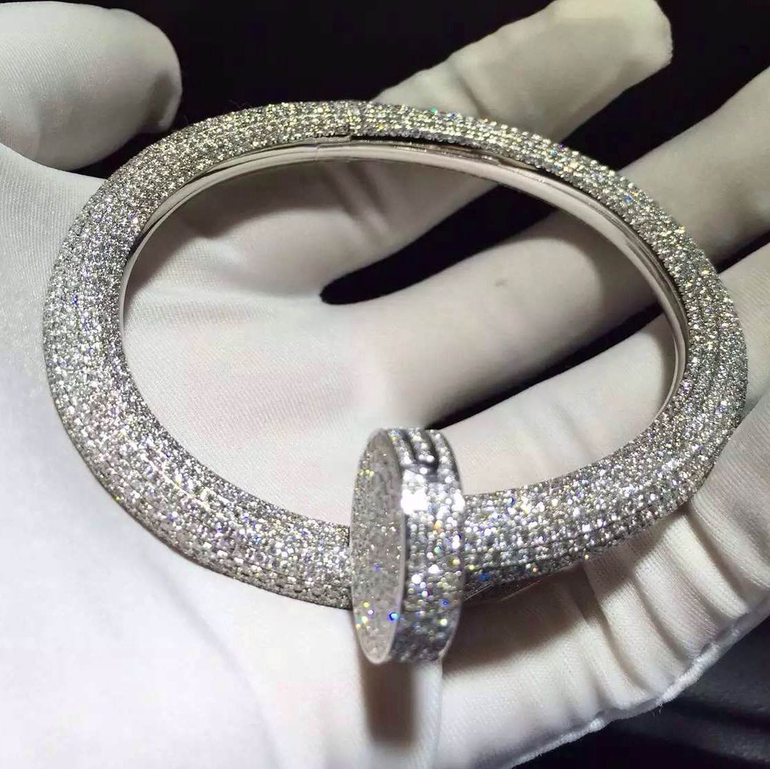 18K white gold Cartier Juste un Clou Nail Bracelet Paved 1752 Diamonds