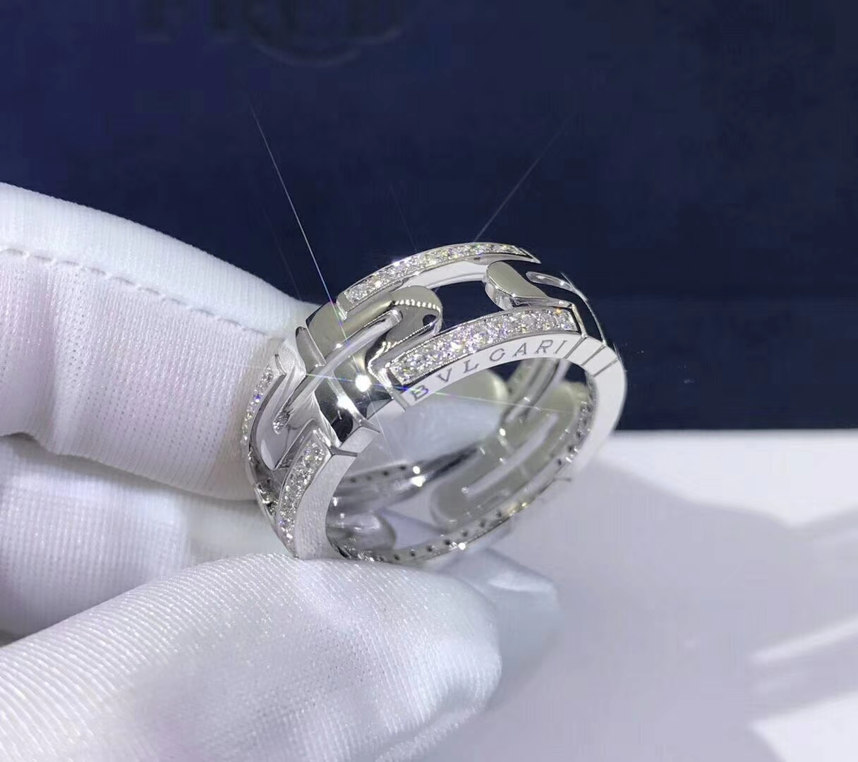 Bulgari Parentesi 18kt White Gold Band Ring with Demi Pave Diamonds