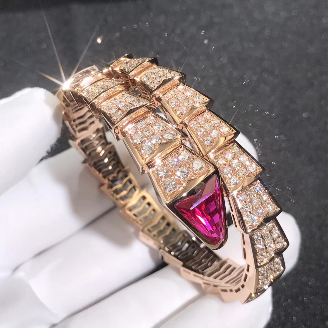 Inspired Bvlgari Serpenti One-Coil Bracelet 18k Rose Gold Pave Full Diamond and Rubellite