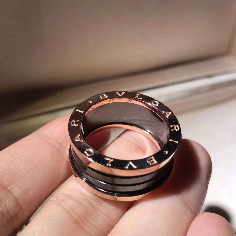 Bvlgari B.Zero1 4-Band Black Ceramic 18k Rose Gold Ring