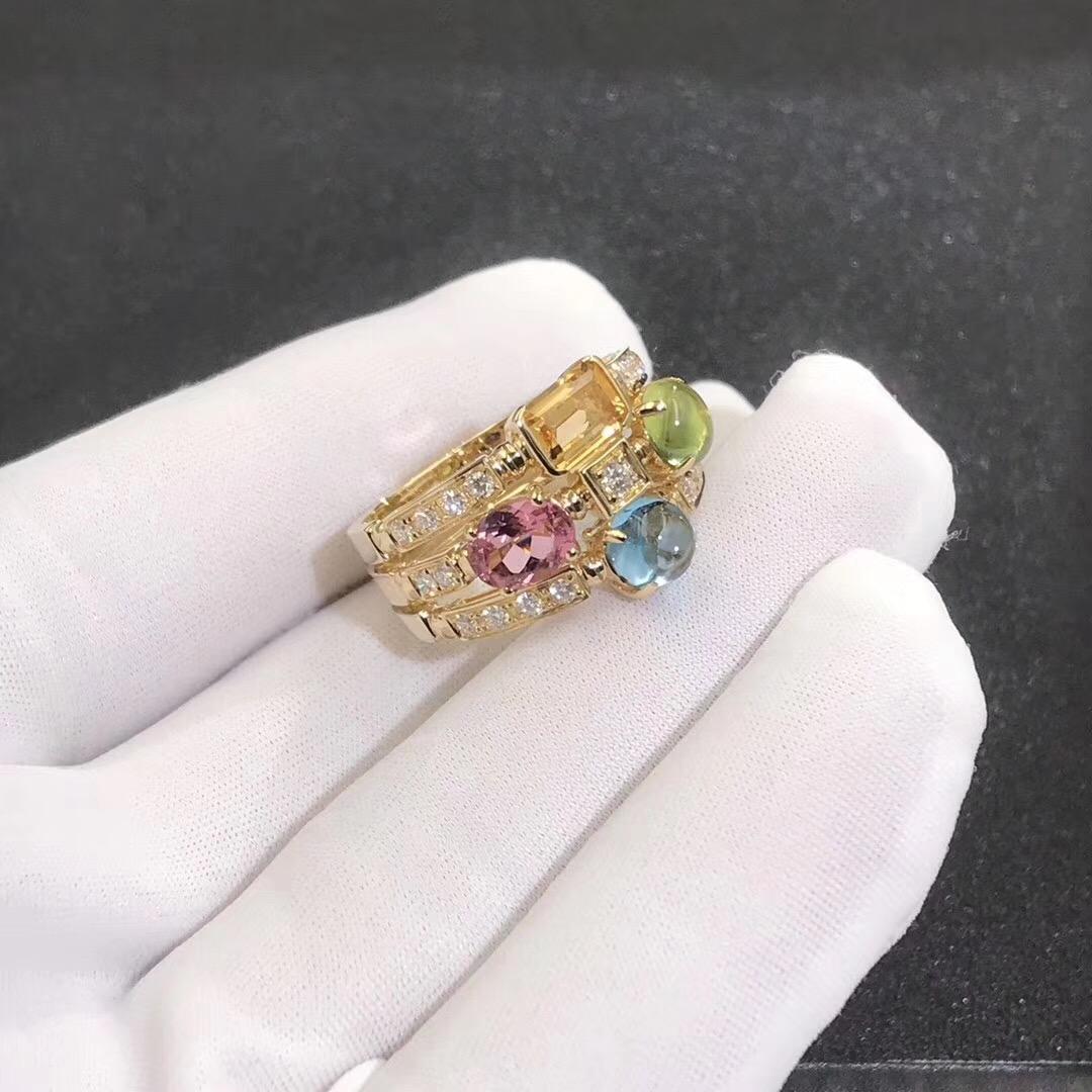 Inspired 18kt Gold Bvlgari Allegra three-band Multi Colored Gemstone and Diamond Ring