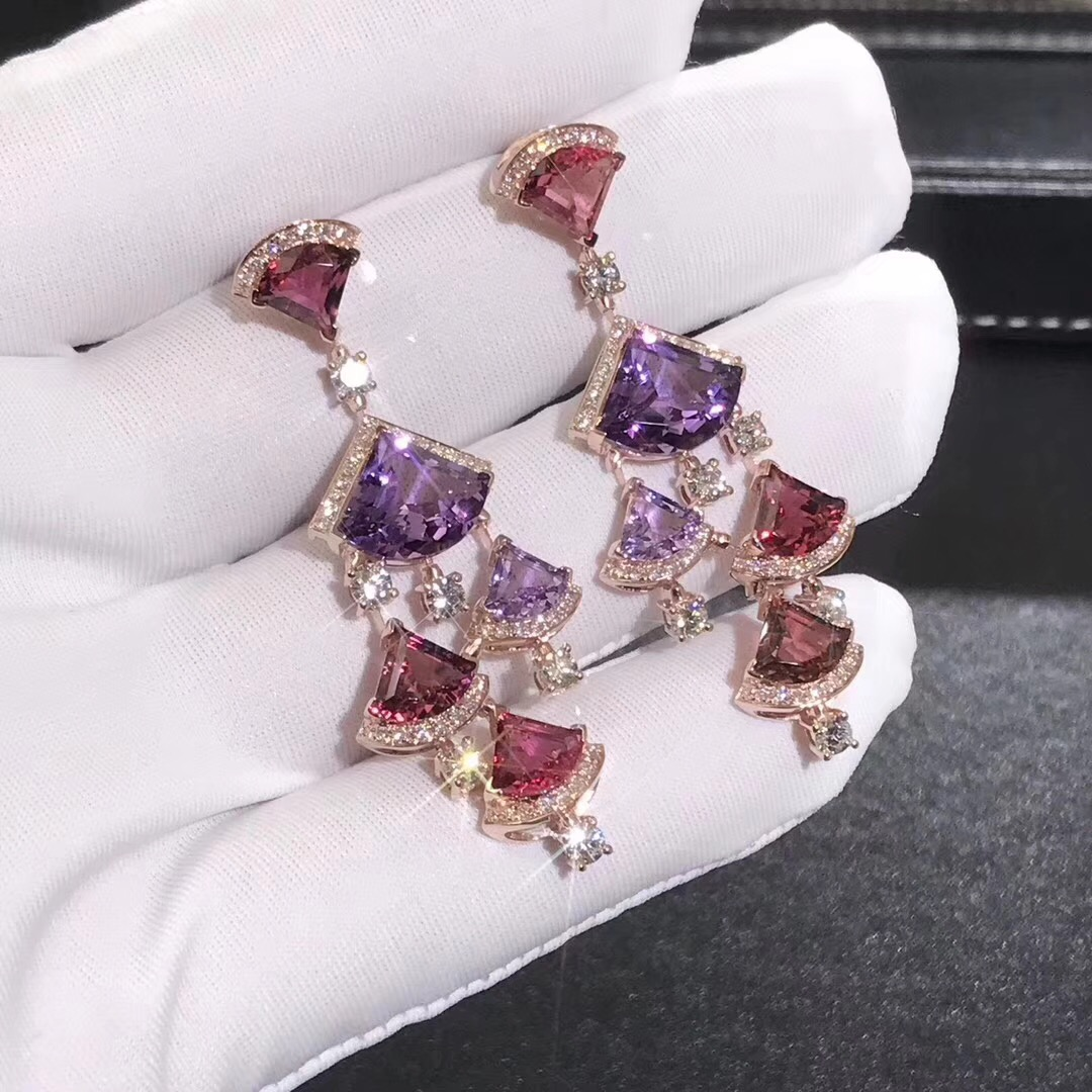 Designer Bvlgari Divas' Dream earrings in 18kt rose gold with pink rubellite, amethyst and pavè diamonds