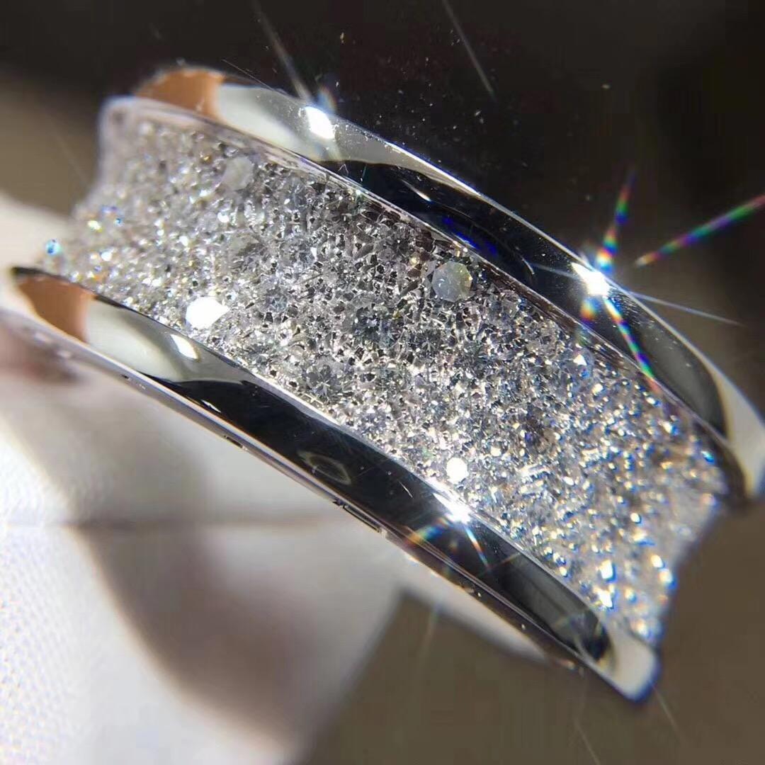 Bvlgari Pave Diamond B.zero1 Ring 18k White Gold