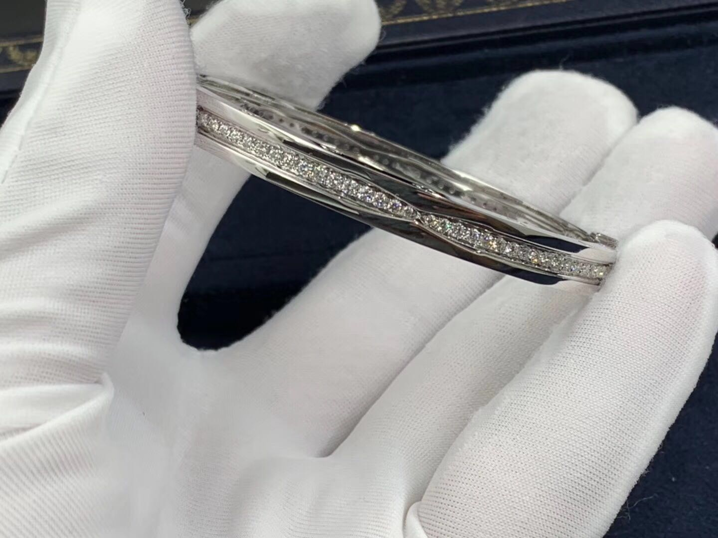 Bulgari B.zero1 pave diamond bangle bracelet in 18kt white gold