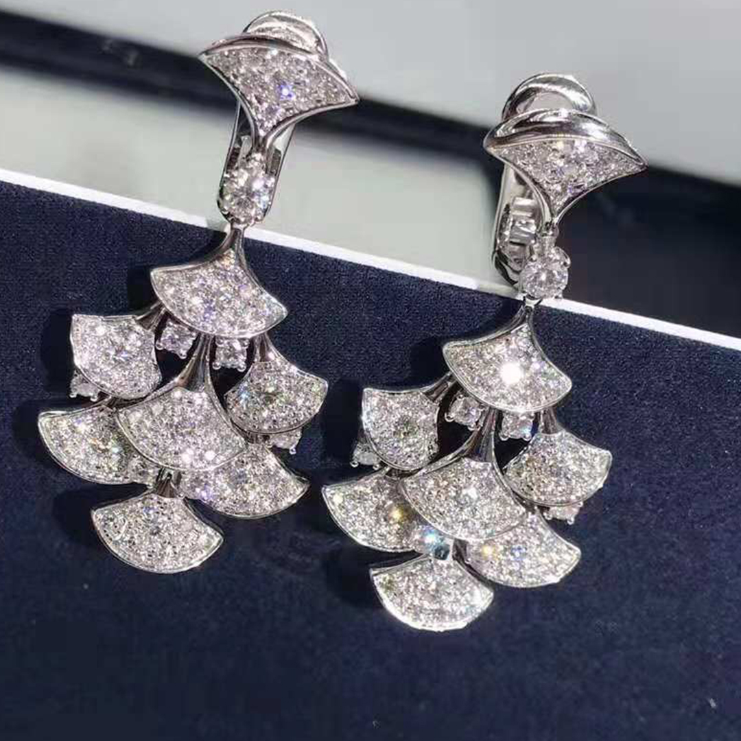 Bulgari/Bvlgari DIVAS' DREAM 18kt White Gold Earrings with Pave Diamonds